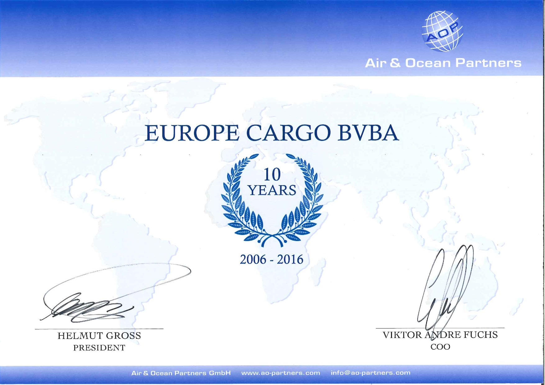 Europe Cargo already 10 Years Member of AOP
